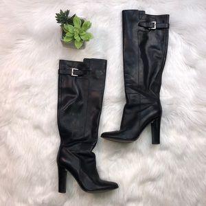 Ann Taylor Sz 5 black leather heeled boots